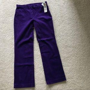 NWT Jones New York purple boot cut leg cords